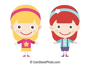 Redhead and blonde cartoon vector girls in different...