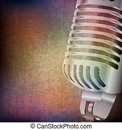 abstract grunge background with retro microphone - abstract...