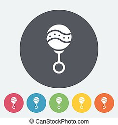 Rattle icon.Flat vector related icon set for web and mobile...