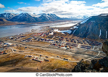 View over Longyearbyen from above, Svalbard, Norway