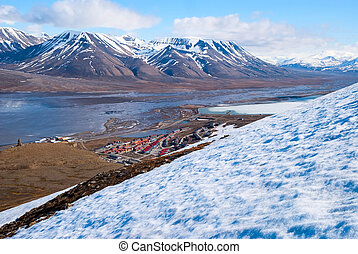 View to Longyearbyen from the hills above, Svalbard, Norway