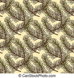Sketch pine branch in vintage style, vector seamless pattern