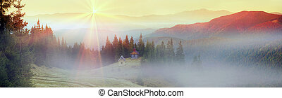 Autumn and monastery - High in the mountains located...