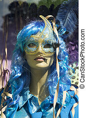 Mannequin woman in blue halloween costume - Mannequin in...