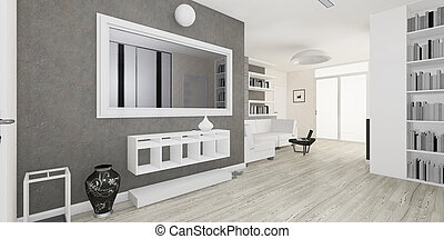 Modern interior of the living room rendering