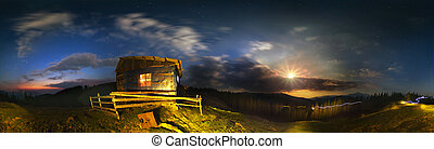 Dwelling shepherds at night - Carpathian landscape at night,...
