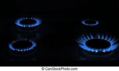 Gas stove in the dark - Four Gas stove in the dark