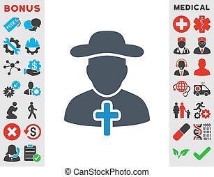Cleric Icon - Cleric vector icon. Style is bicolor flat...