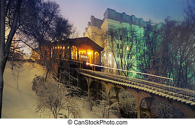 Kiev funicular in the fog in winter - Kiev funicular -...
