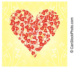 Heart made from red hearts on yellow background