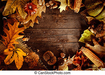 Thanksgiving dinner. Autumn fruit on wood with copyspace....