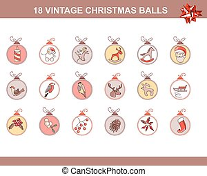Set of different vintage Christmas decorations isolated on white. Pastel colors.