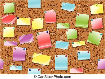 post it notes background. seamless corkboard with multicolor...