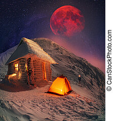 Lunar landscape on winter Goverle - Incredible Moon over...