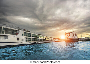 Ferries on the Amstel river in Amsterdam. - Ferries on the...