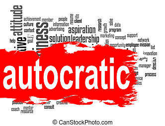 Autocratic word cloud with red banner image with hi-res...