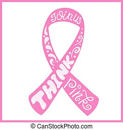 Hand drawn pink ribbon of Breast Cancer