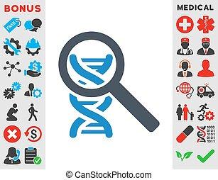 Explore Dna Icon - Explore Dna vector icon. Style is bicolor...