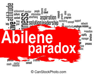 Abilene Paradox word cloud with red banner image with hi-res...