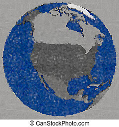 Drawing of north America on Earth