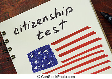 citizenship test and American flag.