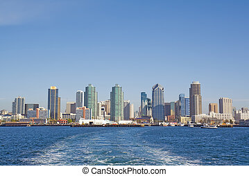 Skyline of San Diego from the water - Port of San Diego with...
