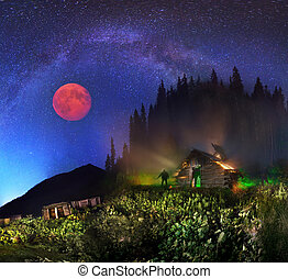 The Milky Way and the moon over the mountains - Milky Way...