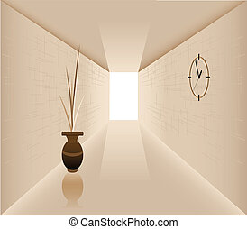 Corridor - Illustration of the vase against the background...