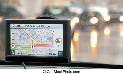 Turning accordng to GPS route - MOSCOW, RUSSIA - FEBRUARY 2,...