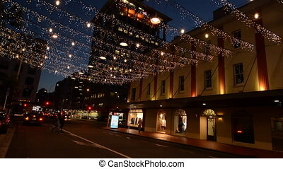 Auckland Downtown at night - Traffic on Commerce Street in...