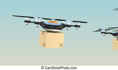 Drones delivery cardboard pack - Hexacopter drones delivery...