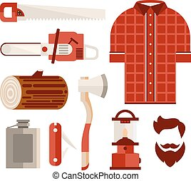 Wood and Tools of Lumberjack in Flat Style Vector...