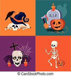 Halloween Skull and Pumpkin Vector Illustration Set -...