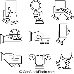 Business Icons With Hands in Linear Style - Set of modern...