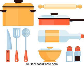 Kitchen Utensils Collection. Vector Illustration - Colourful...