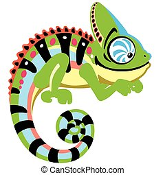 cartoon chameleon lizard . Side view image isolated on white