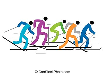 Cross country skiers - Colorful illustration of five...