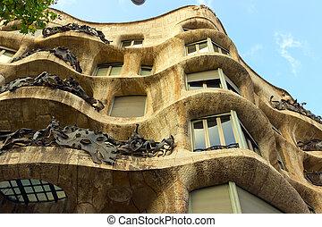 Casa Mila, or La Pedrera, Barcelona, Spain. - BARCELONA -...