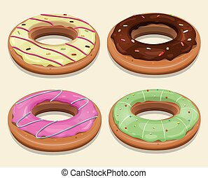 Fast Food Donuts - Illustration of a funny cartoon set of...