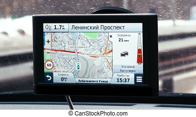 Driving in Moscow with GPS navigation - MOSCOW, RUSSIA -...