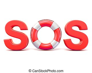 SOS sign, with lifebuoys 3D render illustration isolated on...