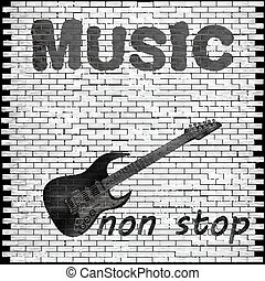 music non stop - Vector musical background brick wall with a...