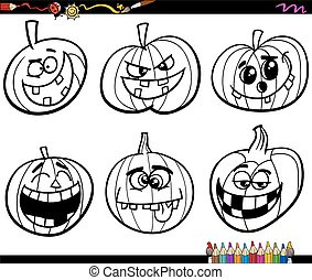 halloween pumpkins coloring page - Black and White Cartoon...