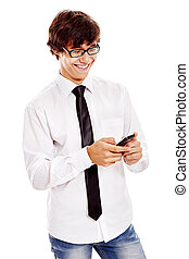Guy texting on cell phone - Young hispanic man wearing white...