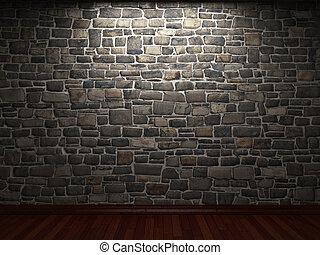 illuminated stone wall
