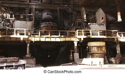 Type of metallurgical production - Hot steel pouring in...