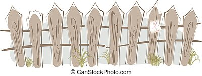 Border in the form of a fence painted in watercolor. EPS10 vector illustration