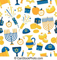 Seamless Pattern With Hanukkah Symbols - Seamless background...