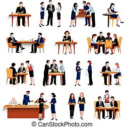 Business lunch pause flat icons collection - Business office...