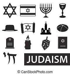 judaism religion symbols vector set of icons eps10